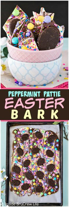 Peppermint Pattie Easter Bark - swirls of chocolate loaded with sprinkles and candy makes an easy no bake treat.  Great dessert recipe for Easter parties!