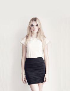 Black mini skirt - modern minimal pleated jersey structure off white, soft grunge punk clothing - custom sizing on Etsy, $80.00