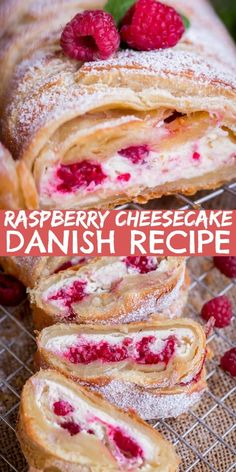 Raspberry Cheesecake Danish Recipe is a Puff Pastry braid filled with a cheesecake filling and raspberries. This Puff Pastry Recipe is easy to make and tastes wonderful! #letthebakingbegin #puffpastry #danish #creamcheese #raspberry #dessert #cheesecake #sweet