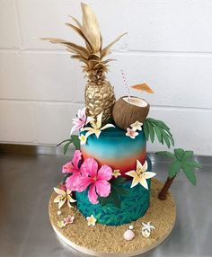 18th Birthday Party Themes, Creative Birthday Cakes, Luau Theme Party, Fruit Birthday, Hawaiian Birthday, Flamingo Birthday, Cute Cakes, Sweet 16 Cakes, Beach Cakes
