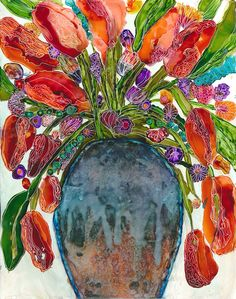 tulips in alcohol inks