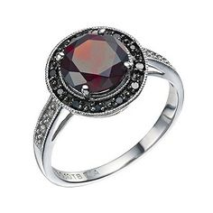 Gothic Chic. Sterling Silver Garnet Black & White Diamond Ring - Product number 9216022
