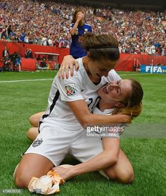 Carli Lloyd and Heather O'Reilly of USA celebrate at the final whistle the FIFA Women's World Cup 2015 Final between USA and Japan at BC Place Stadium on July 5, 2015 in Vancouver, Canada.