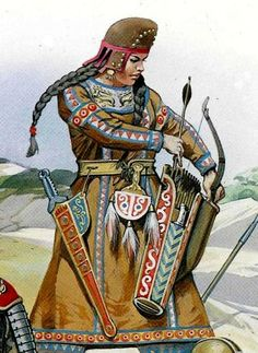 A reconstruction of a Scythian female warrior in battle .Scythian women were tattooed like their mates, and the ancient historian Diordorus commented that Scythian women 'fight like the men and are nowise inferior to them in bravery' - by Angus McBride. Iron Age, Women In History, Ancient History, Sassanid, Ancient Persia, Fantasy, Dark Ages, Ancient Civilizations, Military History