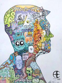 NCHS Art – Elmore: Art Intro – Symbolic Self-Portrait. good doodle art final piece NCHS Art – Elmore: Art Intro – Symbolic Self-Portrait. Club D'art, Self Portrait Drawing, Self Portraits, Classe D'art, 7th Grade Art, Identity Art, Drawing Projects, Drawing Ideas, High School Art