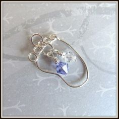 Baby Foot Pendant Charm, Wire Wrapped in Silver, Crystal Birthstone