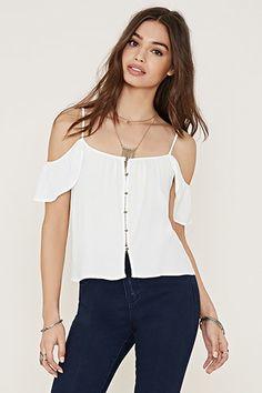 Buttoned Open-Shoulder Top