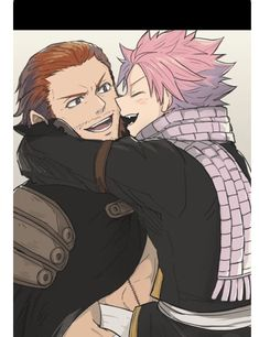 "Gildarts face like ""its great to see you to!"" And Natsu's like ""gildarts, my 4 millionth father yayayayayay, your finally home, I missed you so much!!"""