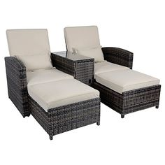 Antigua Rattan Wicker Reclining Sun Lounger Companion Chair Garden Furniture Set  Discount from Β£999 To Β£699