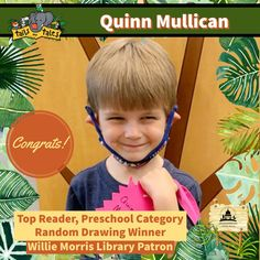 #SUMMERREADING PROGRAM HIGHLIGHT: Congratulations to Willie Morris Library patron Quinn Mullican, the systemwide Top Reader in the preschool category! Quinn won Mississippi Children's Museum passes and new books, and is also a random drawing winner of DEFY Jackson passes. Enjoy! 🥳 See who else has won at jhlibrary.org/srp21winners. #SummerReadingProgram #SRP #SRP2021 #TailsAndTales Summer Reading Program, Mississippi, New Books, Congratulations, Jackson, Preschool, Children's Museum, Drawings, Highlight