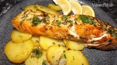 baked salmon with roasted potatoes Fish Recipes, Meat Recipes, Cooking Recipes, Slovenian Food, Fish And Meat, Baked Salmon, Roasted Potatoes, Ham, Food And Drink