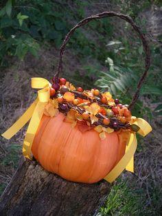 Fall wedding flower girl basket