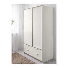 TRYSIL Wardrobe w sliding drawers IKEA Sliding doors allow more room for furniture because they don't take any space to open. Ikea Sliding Door, Sliding Wardrobe Doors, Bedroom Cupboard Designs, Bedroom Cupboards, Ikea Bedroom, Home Bedroom, Ikea Wardrobe Storage, Ikea Trysil, Armoire Ikea