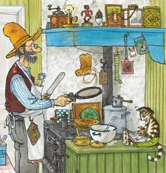 I grew up with Pettson and Findus :) Illustration: Sven Nordqvist Art And Illustration, Character Illustration, Piglet, Art Mignon, Nordic Art, Typography Prints, Cute Images, Traditional Art, Cat Art