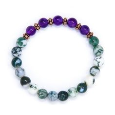 Tree Agate and Amethyst mala bracelet designed with natural crystal healing beads: purple Amethyst and white/green Tree Agate. This boho bracelet is adorned with handmade copper accents.