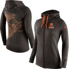 Women's Cleveland Browns Nike Brown Warpspeed All Time Full-Zip Performance Hoodie