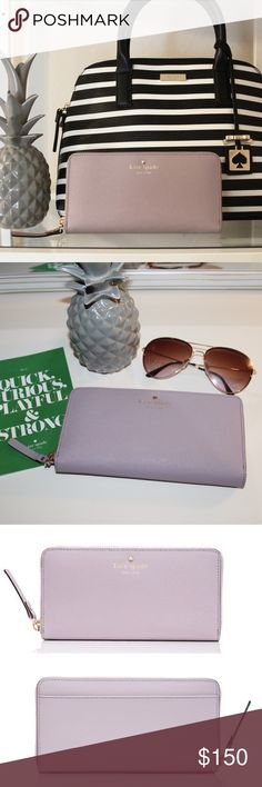 NWT Kate Spade Wallet - Lilac Bliss Lacey NWT Kate Spade Mikas Pond Lacey wallet. The color is lilac bliss (a pretty rare color!) Super functional wallet with 12 card slots, 2 compartments behind the card slots, 2 bifold compartments, a zipper coin compartment, and an outside slide pocket. Still has original wrapping, care card, and tag. I only took out inside styrofoam sheets to take a picture. All pictures except for the third are my own! Please let me know if I can answer any questions…