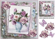 Pretty lace with shades of roses in blues pinks in a vase  on Craftsuprint - Add To Basket!