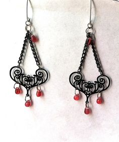 Bali style filigree scroll chandelier earrings by BeadingByJenn, $15.00