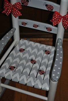 Childrenu0027s Custom Chevron   Lady Bugs   Girls Rocking Chair Baby Shower  Gift, Nursery Furniture, Painted Child Chair