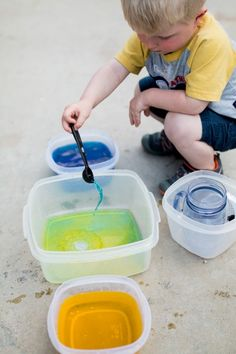 Transferring colored water activity - great for toddlers!