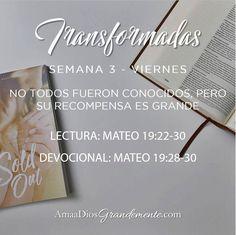 Transformadas. Guía de lectura Viernes. Semana 3.  #Transformada #DiscipulosdeJesus #ComunidadADG #Devocionalparamujeres #ADGenespanol (sin ñ) #AmaaDiosGrandemente #Biblia #Dios