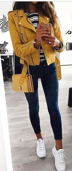 yellow leather zip-up jacket, white and black striped shirt, and black leggings Trendy Fall Outfits, Cozy Winter Outfits, Spring Outfits, Casual Outfits, Casual Winter, Yellow Jacket Outfit, Mode Outfits, Fashion Outfits, Yellow Shirts