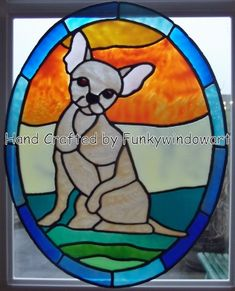 Stained Glass Window Clings chihuahuas | dog window clings window art stained galass effects suncatchers decals