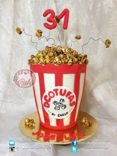 PopCorn Cake - This is a new pop corn cakes. But this time I did not make the pop corn in fondant -Repostería - Puerto Ordaz - Venezuela