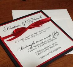 Square Elegant Panel Pocket Wedding Invitation Black, Red, White on Etsy, $5.03 CAD