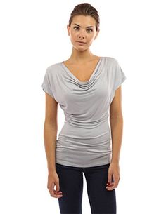 031396b522c5f3 PattyBoutik Women's Cowl Neck Short Sleeve Top (Light Gray S): Simple Cowl  Neck Short Sleeve Casual Blouse Top. Model in pictures is 5 feet 8 inches  tall ...