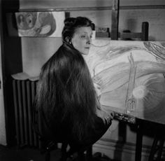 Louise Bourgeois in the studio of her apartment at 142 East 18th Street in New York, circa 1946.
