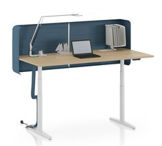 Vitra Tyde Height Adjustable desk incorporates features to address the acoustic challenges of open plan offices. Vitra Design Museum, Adjustable Height Table, Adjustable Desk, Alvar Aalto, Office Setup, Office Table, Stand Up Workstation, Sit Stand Desk, Office Workstations
