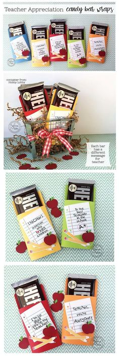 Teacher Appreciation & Office Staff Gifts -So Many Gift Ideas--Gotta see these! It's Written on the Wall: Teacher Appreciation gift ideas, School Staff Gifts, Student Teacher Gifts, Gifts for Principa. Student Teacher Gifts, Teachers Day Gifts, Teacher Treats, Staff Gifts, Math Teacher, Gift Ideas For Teachers, Small Teacher Gifts, Music Teacher Gifts, Teacher Cards