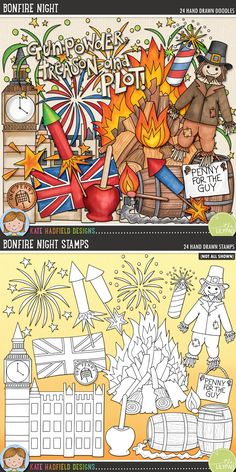 Bonfire Night digital scrapbooking elements. Cute British clip art. Hand-drawn illustrations for digital scrapbooking, crafting and teaching resources from Kate Hadfield Designs!