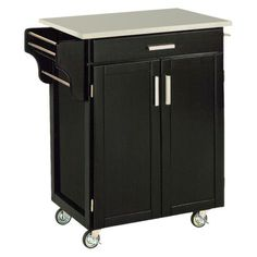 USE SIDES OF CART FOR HANGING RAIL + ESS HOOK STORAGE SPACE Kitchen Cart with Stainless Steel Top - Black