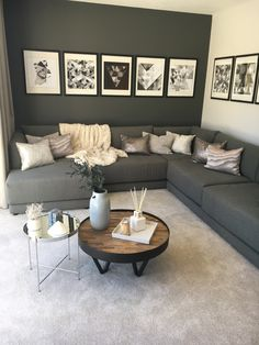 A dark grey contrast wall and statement grey sofa is softened with lighter tones. A dark grey contrast wall and statement grey sofa is softened with lighter tones… – # Living Room Color Schemes, Living Room Grey, Living Room Sofa, Living Room Designs, Black White And Grey Living Room, Living Room With Carpet, Living Room Decor With Black Sofa, Copper And Grey Living Room, Grey Sofa Decor