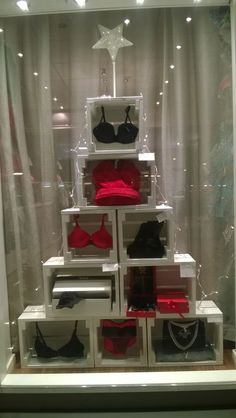 Christmas window display, Christmas gift tree, lingerie Christmas window display