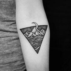 Nz landscape tattoo done by Tristan (Dead Meat Tattoo) #sunsettattoonz www.sunsettattoo.co.nz