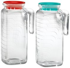 Bormioli Rocco Gelo 2-Piece Glass Pitcher Set with Lids, Red and Green by Bormioli Rocco, http://www.amazon.com/dp/B000P4D972/ref=cm_sw_r_pi_dp_jOxOrb1NW5319