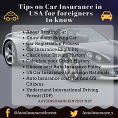 Are you foreigner and looking for buying car in USA, even insuring it. Cheap USA Car insurance buying tips for Non US Citizens and Non US Residents with Low Car Insurance, Commercial Insurance, Renters Insurance, Insurance Broker, Auto Insurance Companies, Flood Insurance, Insurance Quotes, Disability Insurance, Umbrella Insurance