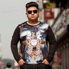 Men 3D T Shirts Long Seelve Tops Big Size 5XL Jersey Polyester Loose And Comfortable Hip Hop Skateboarding T-Shirts