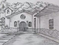Lápiz, colonial, capilla, sombras