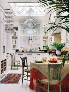 Gorgeous kitchen; Color Outside the Lines: Kitchen Inspiration Month: Day 22 - Eat in Kitchens