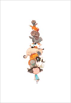 Titled: Did You Ever Walk with 10 Cats on your Head? by Joy Ang, art print