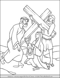 Stations of the Cross Coloring Pages 6 - Veronica wipes the face of Jesus