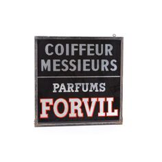 French Shop Sign, Painted Glass  Metal - $1,725 on Chairish.com