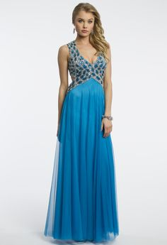 Camille La Vie Beaded Cut Out Grecian Prom Dress