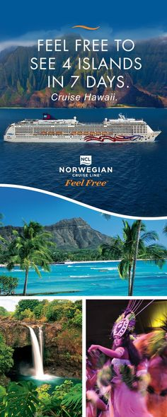 From Maui to Kauai, discover the Aloha spirit of Hawaii! Only Norwegian Cruise Line offers convenient year-round sailings from Honolulu. Explore 4 islands in 7 days so you can cross more of Hawaii off your bucket list. Cruise Hawaii with Norwegian. Hawaii Vacation, Vacation Places, Cruise Vacation, Hawaii Travel, Vacation Destinations, Vacation Trips, Dream Vacations, Vacation Spots, Places To Travel