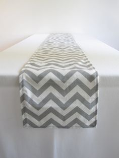 Gray and White Chevron Table Runner - 10 x 78.5 in.